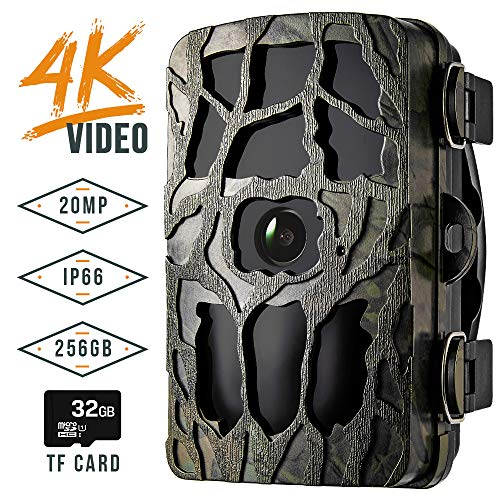 Blusmart Trail Camera, 4K 20MP IP66 Waterproof Game Camera with 20M Night Flash...