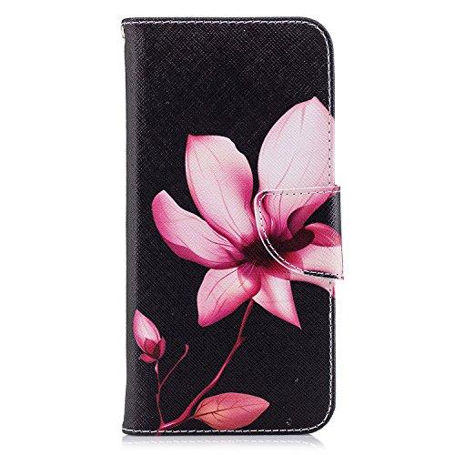 Uposao Kompatibel mit Handyhülle Huawei P Smart Handytasche Handy Hüllen Flip Case Cover Schutzhülle Brieftasche Ledertasche Lederhülle Etui Klapphülle Kartenfächer,Rot Lotus Blumen