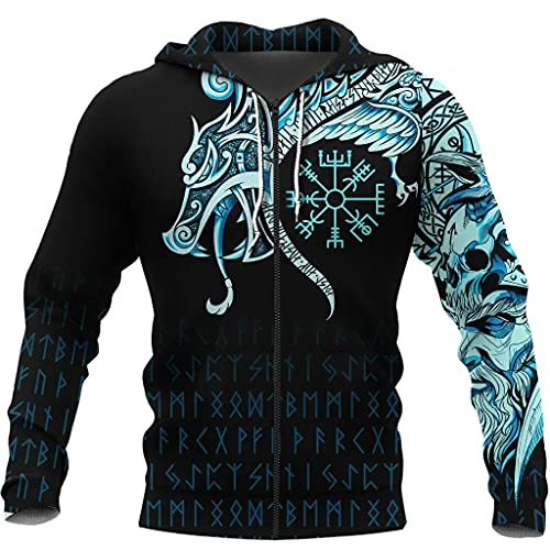 LMCLJJ Camiseta con Capucha Tatuaje Cuervo Vikingo, NóRdico Vegvisir Runa Jersey con Estampado Digital en 3D, Manga Larga Unisex Chaqueta Casual Ropa Deportiva,Black Zip Hoodie,L