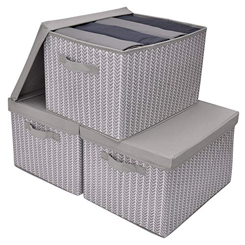 GRANNY SAYS Storage Bins for Closet with Lids and Handles Rectangle Storage Box Fabric Storage Baskets Containers GrayWhite Extra Large 3-Pack