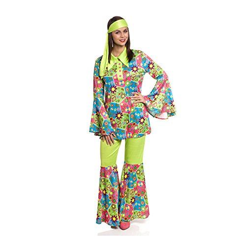 Kostümplanet® Hippie Kostüm Damen 70er Jahre Bekleidung Faschingskostüme 60er Flower-Power Kleidung Outfit Karneval bunt Größe 36/38