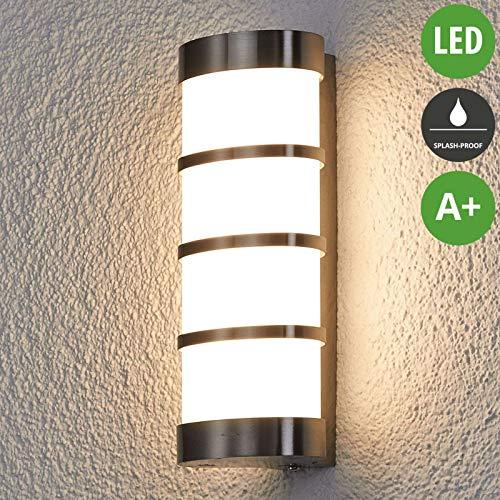 Lampenwelt LED Wandleuchte außen 'Leroy' (spritzwassergeschützt) (Modern) in Alu aus Edelstahl (96 flammig, A+, inkl. Leuchtmittel) - LED-Außenwandleuchten Wandlampe, Led Außenlampe, Outdoor Wandlampe