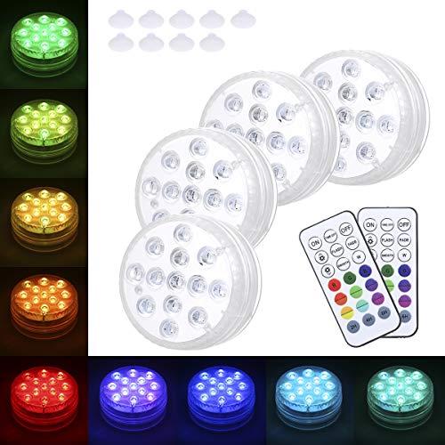 Tomshin RGBW 13LED Tauchlicht mit 2 RF-Fernbedienungssaugnäpfen IP68 Wasserdichte Unterwasserlampe für Gartenschwimmbad Teichbrunnen Hochzeitsfeier Dekoration 4Pack