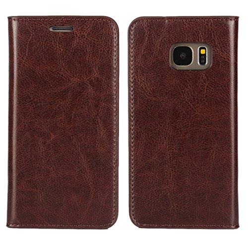 Copmob Funda Samsung Galaxy S7,Premium Flip Billetera Funda de Cuero,[3 Ranuras para Tarjetas][Función de Soporte],Carcasas Cover para Samsung Galaxy S7 - Marron Oscuro