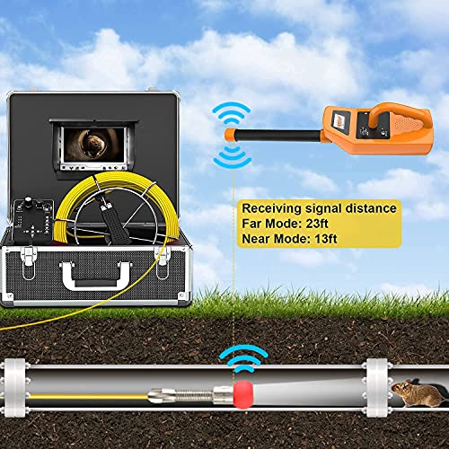 Sewer Camera with Locator & Receiver, Anysun 100ft Inspection Camera with 512Hz Sonde Transmitter and DVR Recorder, Pipe Plumbing Snake Camera with 7' LCD Monitor (8 GB SD Card Included) (100ft/30m)