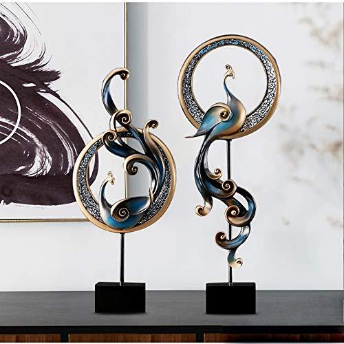 DAMAI STORE Productos De Resina Hecha A Mano Azul Golden Phoenix Decoración...