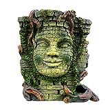 ZAAQ Decoración de Acuario Adorno Antiguo Egipto Ruinas Acuario Ornamento Templo Pared Santuario Buda Cara Pecera Decoración Decoración de Resina