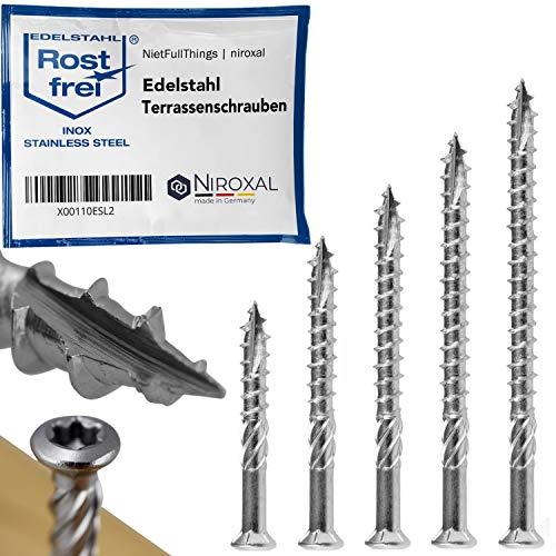 Edelstahl Terrassen-Schraube TORX Schneidkerbe Linsenkopf und Schaelrippen aus V4A 5-mm stark 50-mm Schrauben-Länge 50 Stück 32-mm Teil-Gewinde Holz-Schraube Terrassenschraube 5x50