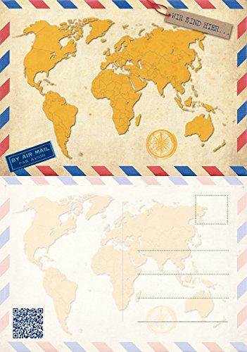 52 WIR SIND HIER POSTKARTEN zur Hochzeit - PORTOFREI möglich - 52 Wochenkarten Weltkarte für Urlaubsgrüße