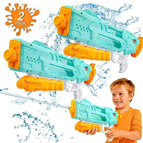 Cybermars Water Guns for Kids, Squit Guns with 1400CC High Capacity up to 35 Feet Long Shooting Range Water Blasters, Super Soaker Water Shooting Toys for Adults Summer Swimming Party (2 Pack)
