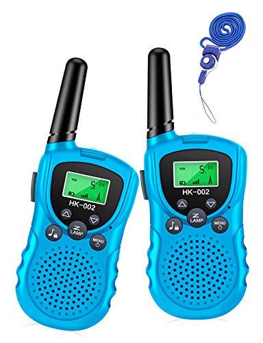 Luclay Walkie Talkies für Kinder 8 Kanal Funkgerät mit Hintergrundbeleuchteter LCD-Taschenlampe 3 Meilen Reichweite für Abenteuer im Freien, Camping Für Junge Mädchen Spielzeug, 2 Paket (Dunkelblau)