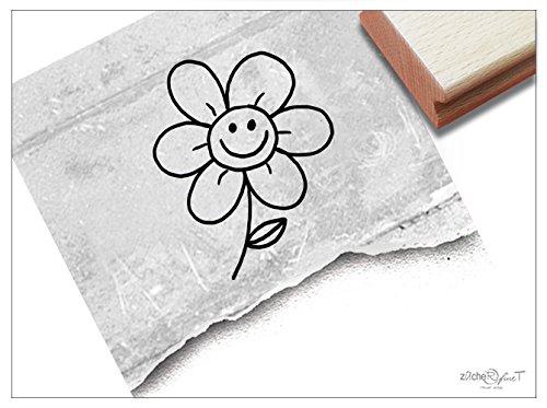 Stempel - Kinderstempel Lachende BLUME - Motivstempel Bildstempel Geschenk für Kinder - Schule Kita Einschulung Basteln Deko - von zAcheR-fineT