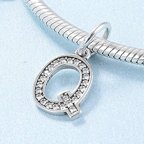 Free 26 lettres European Silver Cz Charm Beads Fit Sterling 925 Bracelets chaîne