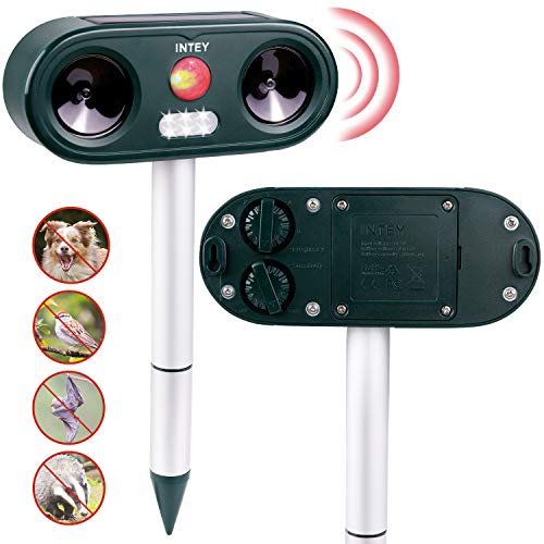 INTEY 2X Cat Repellant Ultrasonic, Outdoor Animal Repeller Deterrent, 5 Adjustable Sensitivity