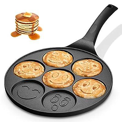 KUTIME Pancake Pan Emoji Smiley Pancake Griddle Flip Cooker Pancake Maker with 7 Flapjack Faces Waffle Maker Non-stick Breakfast Pan for Pancake, Fried Egg