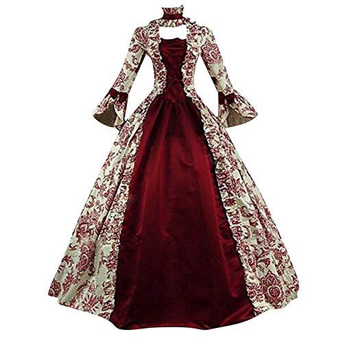 PTMJ High-End Court Rokoko Barock Marie Antoinette Ballkleider 18. Jahrhundert Renaissance Historische Periode Kleid Gewand Vintage Renaissance Costume Cosplay für Damen(Wein,L