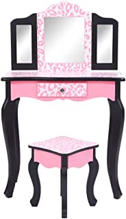 Hommoo Makeup Vanity Sets Children Dresser with Tri-fold Mirror & Stool,Dressing Table Vanity Makeup Desk Drawers & Removable Mirrors,Red Leopard Print