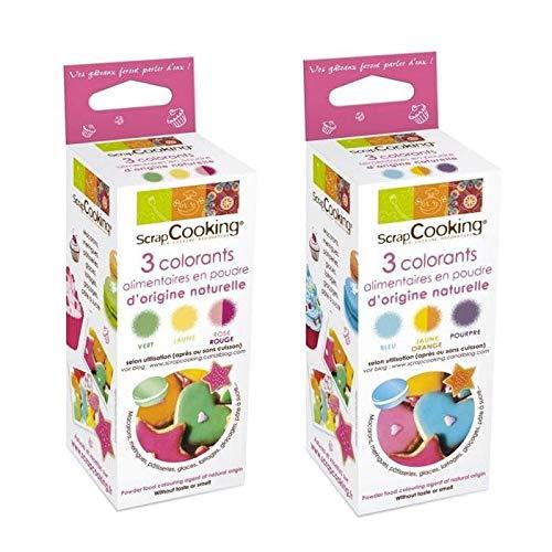 Colorants Alimentaire Naturels Scrap Cooking - 2 Pack De 3 Couleurs En Poudre (Rouge, Vert, Jaune/Orange, Bleu et Violet) - 55g