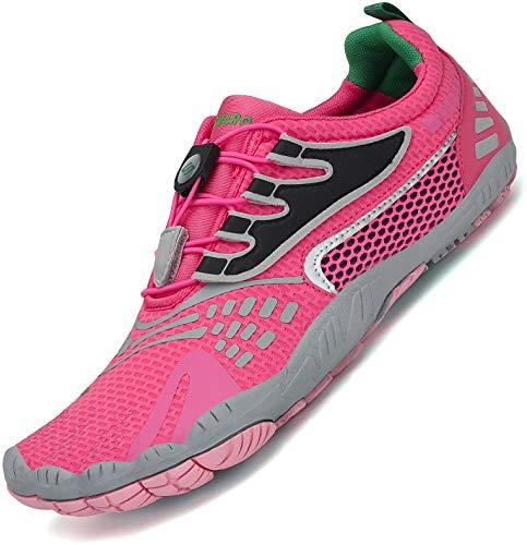 SAGUARO Damen Barfußschuhe Traillaufschuhe Fitnessschuhe mit Weich Dicke Sohle, Schnell Trocknend Badeschuhe Rosa C 39