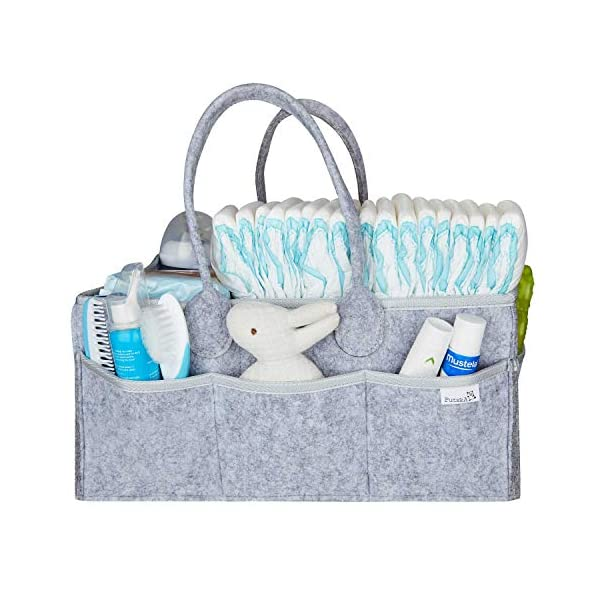 Putska Baby Diaper Caddy Organizer – Gift Registry for Baby Shower, Nursery Organizer, Neutral Baby Gift Basket, Changing Table Organizer with Bibs and Pacifier Clips