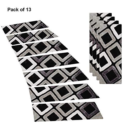 Ahmi Tapis pour Marche d'escaliers, Ensemble de 13 Tapis Dessous en PVC antidérapant de 20 x 75 cm - Marchette Protection Enfants Chiens
