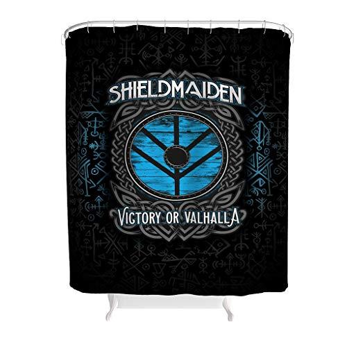 JEFFERS Waschbar Polyester Viking Shieldmaiden Lagertha Victory or Valhalla Duschvorhang Wasserdicht Bad Duschvorhang White 91x180cm