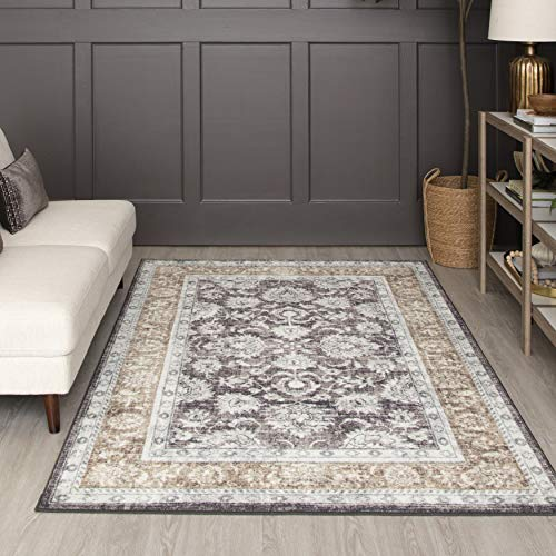 Mohawk Home Prismatic Worcester Gray Distressed Floral Precision Printed Area Rug, 5'x8', Gray and Tan