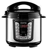 Gourmia GPC400 4 Qt Digital Pressure Cooker with LCD Display - 13 Cook Modes - Removable Pot - 24-Hour Delay Timer - Automatic Keep Warm - Pressure Sensor Lid Lock - Recipe Book Included