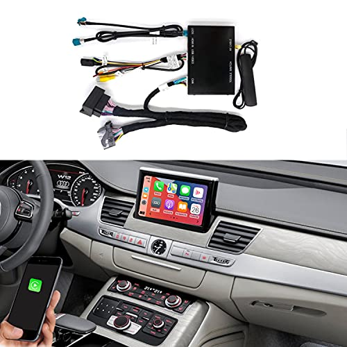Road Top Wireless Carplay Android Auto Module Receiver Box for Audi A8 2012-2018 Year with 3G MMI, Carplay Retrofit Kit Decoder, Support Mirror Link, Reverse Camera Functions
