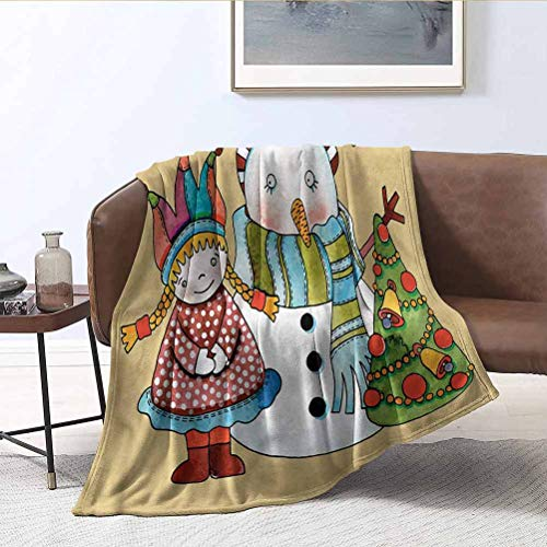 ParadiseDecor Christmas Travel Blankets Cute Toy Snowman Tree Throws/Travel - Fluffy & Soft Plush Bed Blanket 40x50 Inch