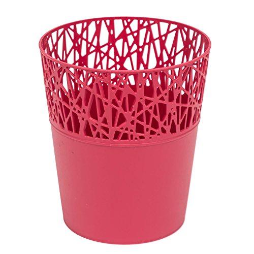 Rond cache-pot 18 cm CITY en plastique romantique style en framboise