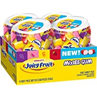 4-Pack Juicy Fruit Gum Mixies Fruity Chews Sugarfree Bottle, 40 Count