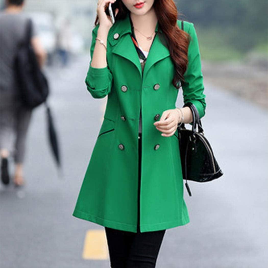 HANMAX Damen Mantel Klassischen Doppelten Breasted Trenchcoat Warm Schlank Vintage Jacke Windmantel Outwear Grün