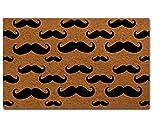"""MsMr Door Mat Entrance Floor Mat Mustache Designed Funny Indoor Outdoor Doormat Non-Woven Fabric Top 23.6""""x15.7"""""""