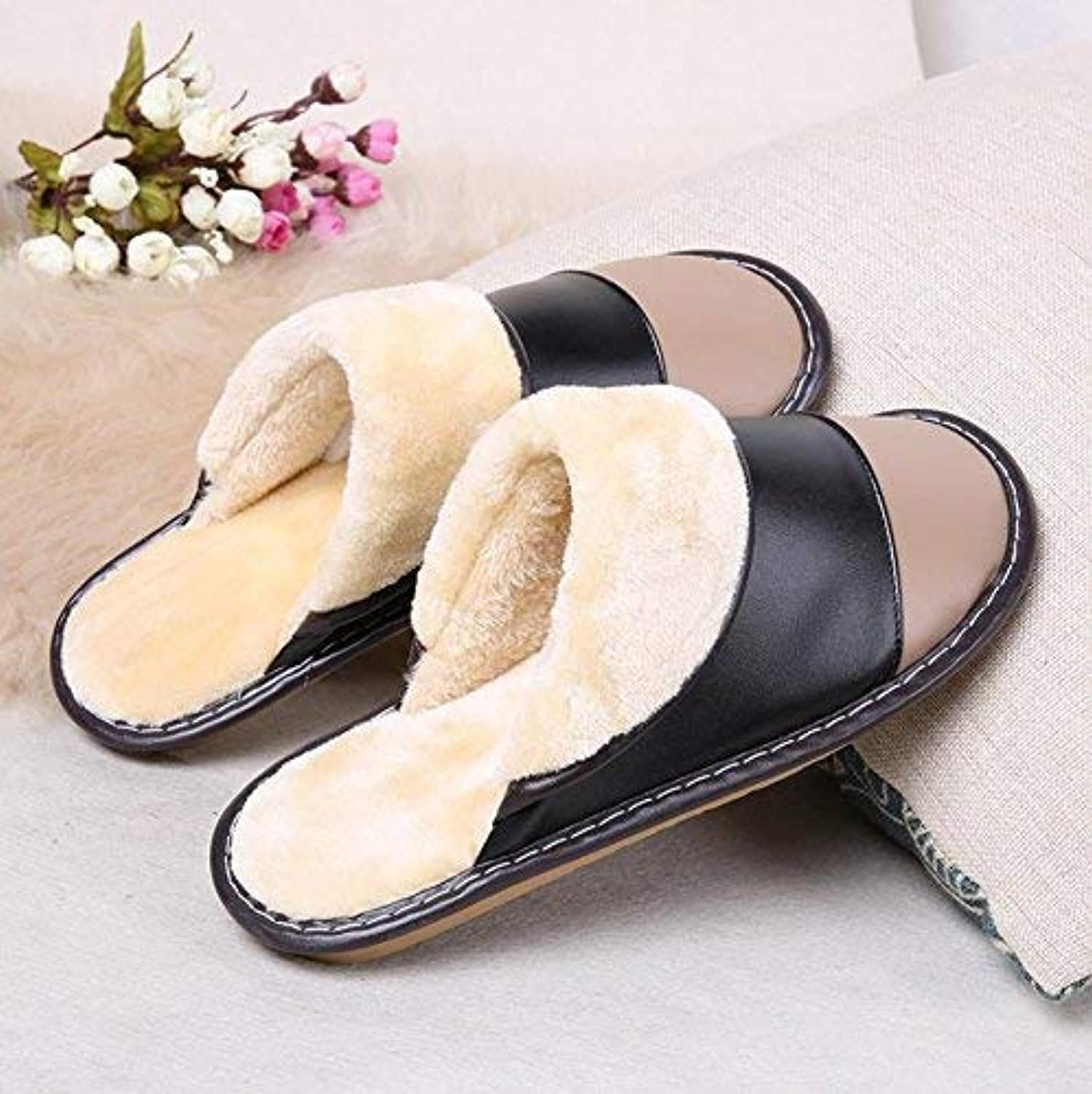 Men's Home Slippers Indoor Warm Artificial Leather Slippers Patchwork color Super Soft Plush Casual Comfortable Wild Slippers