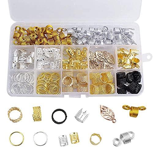 200 unidades de bobinas de aluminio para el pelo de metal, anillos trenzados, colgantes, con caja para el pelo