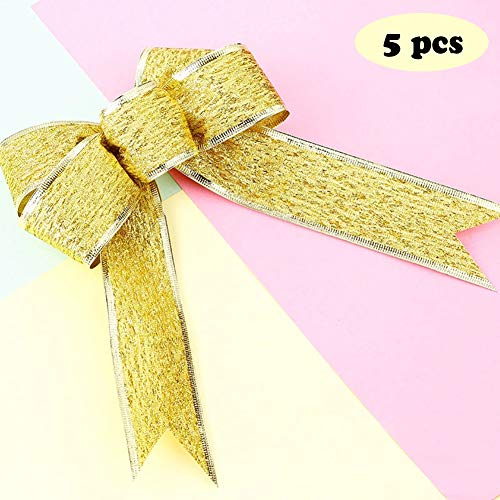 NXX 5 Pieces Glitter Christmas Bows Christmas Wreath Bow Christmas Tree Ornaments Bows for Christmas Party Decoration (Four Colors),Gold