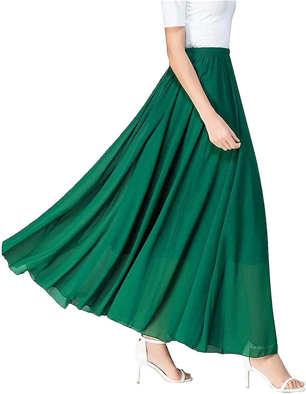 Ranle Women's High Waist Elastic Solid Color Skirt Ruffled Hem Long Skirt Holiday Casual Skirt