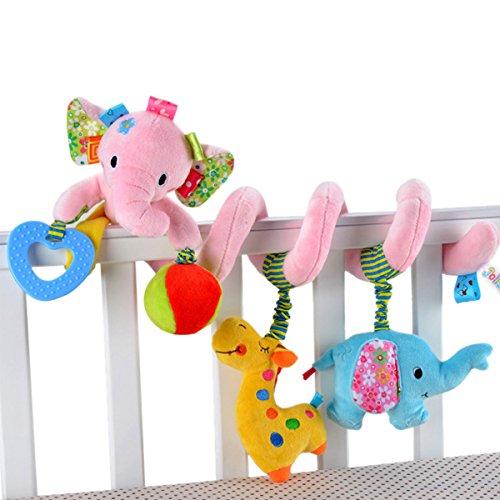 Happy Cherry Hochet Spiral Peluche Jouet d'éveil pour Berceau Poussette - Jouet éducatif Animal Éléphant Rose