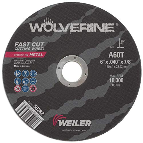 Weiler 56282 Wolverine 7/8' Arbor, 0.040' Thickness, 6' Diameter, A60T Grit, Type 1 Large Reinforced Wheel