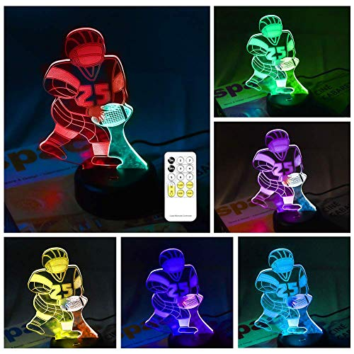 Football Gifts for Boys 6-12,Football Game Party Favor,Mens Football Gifts for Football Fan,Dual Color Football Rugby Player Night Light,Remote Control,Teenage Boys Gifts Boyfriend Gifts