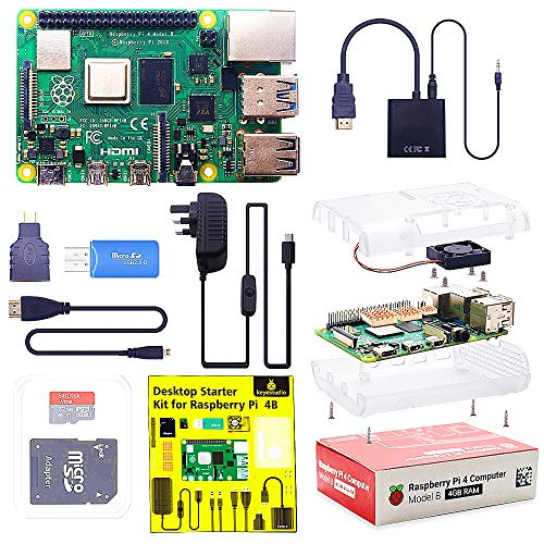 KEYESTUDIO Raspberry Pi 4 B 4GB Starter Kit Motherboard 32GB SD Card, Cooling Fan, 5.1V 3A Type C On/off UK Edition, RPI Case