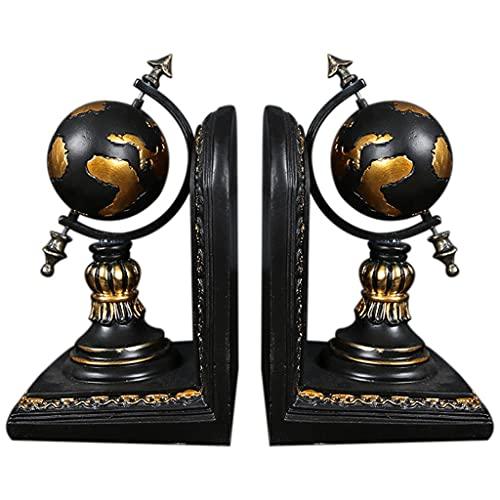SMEJS Globe Bookend Resina Figuras Retro Globe Book Stand Modelo Miniatura Adornos Creativos Artesanías Decoración del Hogar
