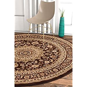 Well Woven Timeless Aviva Traditional French Country Oriental Brown Area Rug 5'3″ Round
