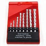 """KFZ Jeu de 8 forets à maçonnerie, utilisés pour le béton, la brique, la tuile, YQRH-01 1/8 """"à 3/8"""" (3 4 5 6 7 8 9 10mm) tige ronde nickelée"""