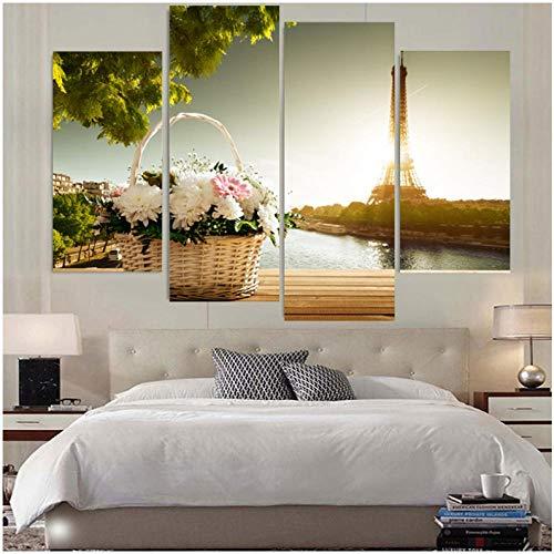 4 Panel Canvas Wall Art Moderne Manden en Eiffeltoren Schilderen Versier Woonkamer Muurdecoratie Beeld in Hoge Kwaliteit-30X60cmx2 30X80cmx2(geen Frame)
