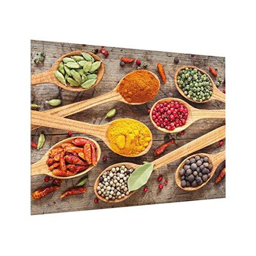 Bilderwelten Panel antisalpicaduras de Cristal - Spices On Wooden Spoon - Horizontal 3:4, Panel antisalpicaduras Panel de Vidrio para Cocina Protector contra Salpicaduras, Tamaño: 59cm x 80cm