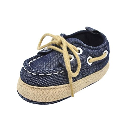 Chaussures de bébé, LuckyGirls Berceau de Fille de Garçon Toile Sneakers Chaussure Semelle Molle Bambin Sneaker- Denim - 0~18 Mois (Âge: 6~12 Mois, Bleu Foncé)