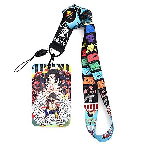 Luffy Cordón para el Cuello, cordón anime Llavero ID Badge Holder Tarjeta De Identificación Lanyard para llavero tarjeta exposición Material de oficina