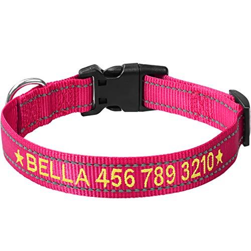 TagME Personalisierte Bestickte Reflektierend Hundehalsbänder/Benutzerdefinierte mit Name und Telefonnummer Bestickt / 4 Größe & Pink/Für kleine und mittlere und große Hunde